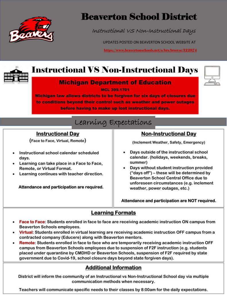 Instructional Day vs. Non-Instructional Day